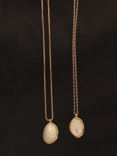 Brass Cats Eye Geometric Vintage pendant Necklace