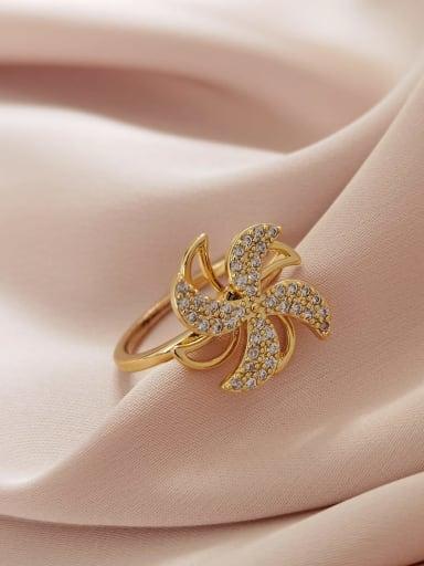 Brass Cubic Zirconia Flower Minimalist Band Ring