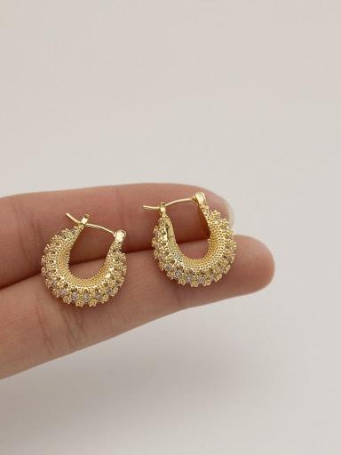 Brass Cubic Zirconia Geometric Vintage Huggie Earring