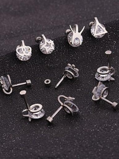 Stainless steel Cubic Zirconia White Geometric Minimalist Stud Earring
