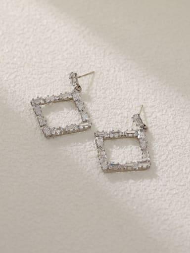 White K Brass Cubic Zirconia Geometric Vintage Drop Earring