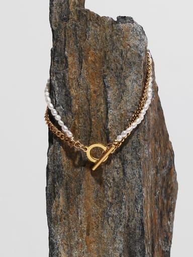 Brass Freshwater Pearl Geometric Hip Hop Strand Bracelet