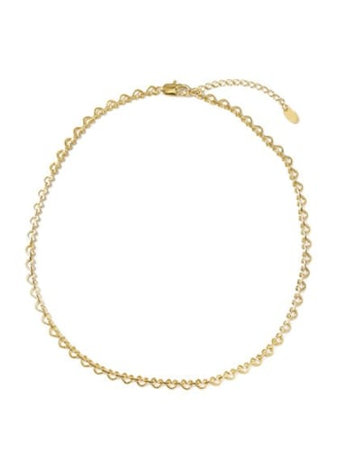Love chain (patterned) Brass Heart Vintage Choker Necklace