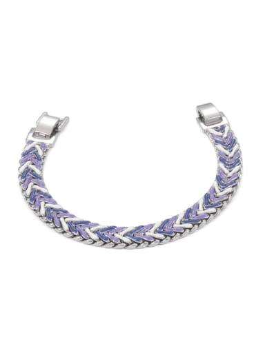 Brass Enamel Geometric Hip Hop Woven Bracelet