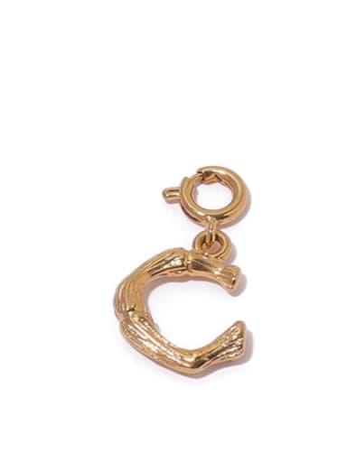 C Brass Minimalist  Letter Pendant