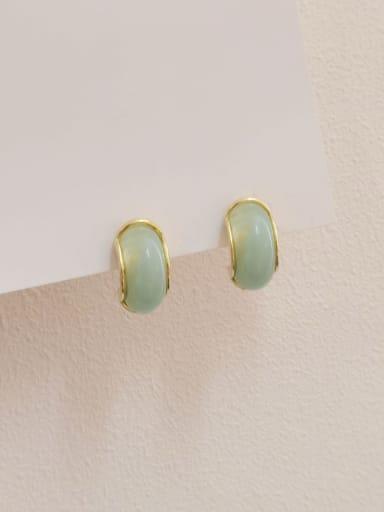 14k Gold light green Brass Resin Geometric Trend Stud Earring