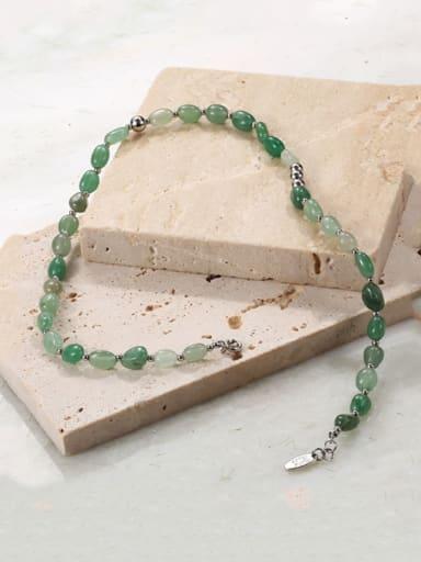 Brass Imitation jade Stone Round Minimalist Necklace