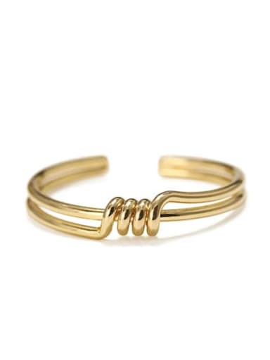 gold Brass Smooth Geometric Vintage Cuff Bangle