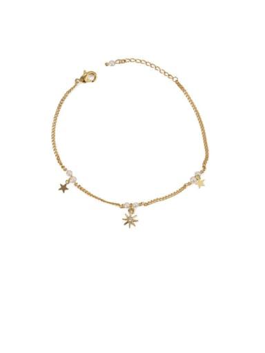 Star Sequin star zircon Brass Cubic Zirconia Star Vintage Link Bracelet