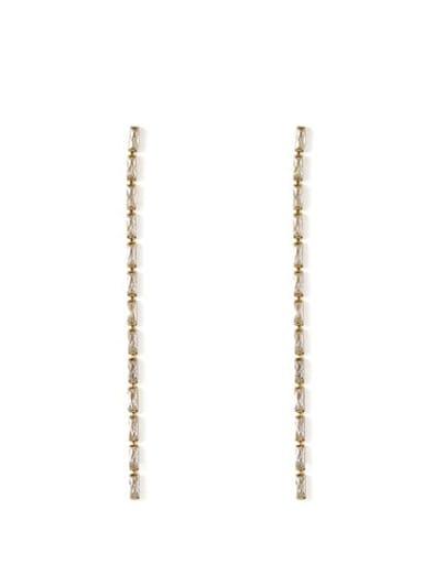 Medium length Bronze Cubic Zirconia Tassel Minimalist Threader Earring