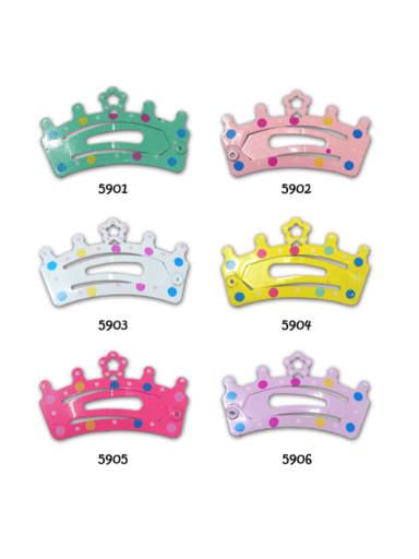 Alloy Multi Color  Enamel Cute Crown Hair Barrette