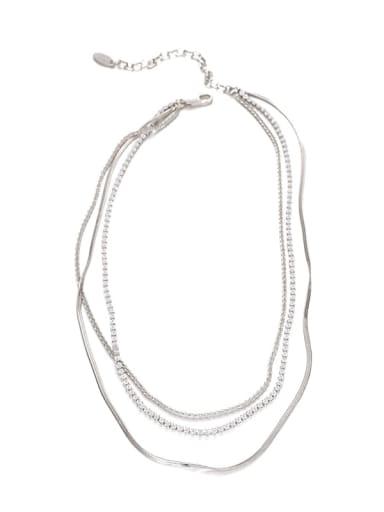 Platinum Brass Cubic Zirconia Geometric Hip Hop Multi Strand Necklace