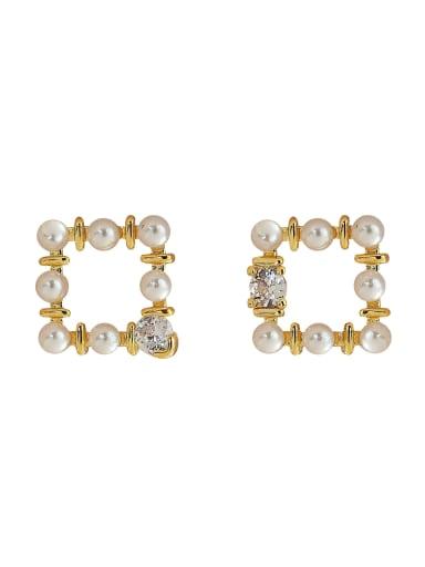 Brass Imitation Pearl Geometric Vintage Clip Earring