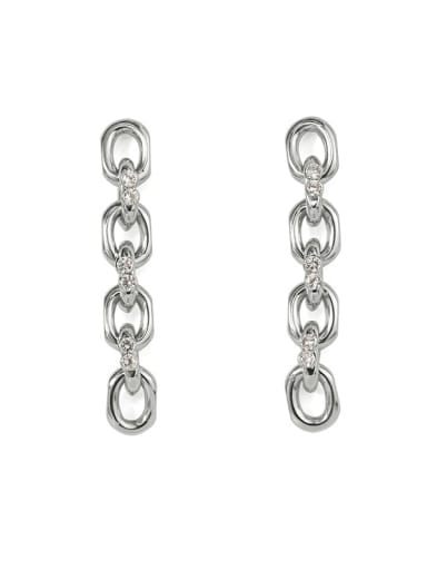 steel Brass Cubic Zirconia Geometric  Chain Vintage Drop Earring