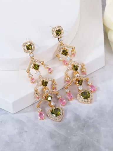 colour Brass Cubic Zirconia Multi Color Heart Statement Drop Earring