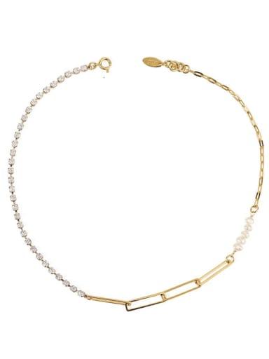 Brass Imitation Pearl Geometric Chain Minimalist Necklace