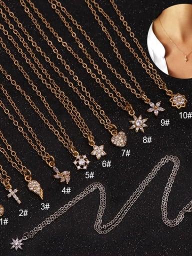 Brass  With Cubic Zirconia White Locket Minimalist Necklace