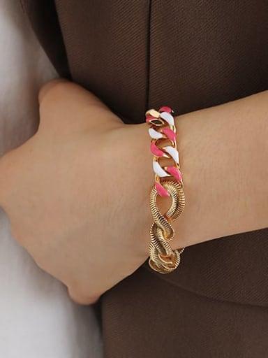 Red and white drop oil Bracelet Brass Enamel Geometric Minimalist Link Bracelet