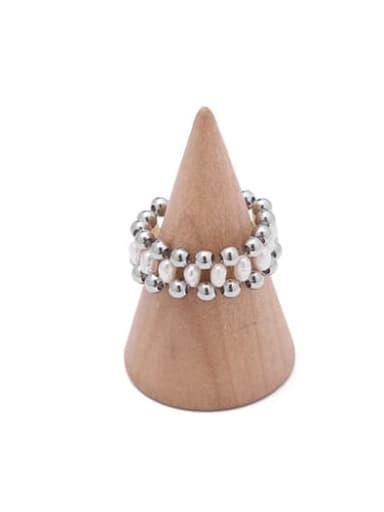 3 White Gold Brass Imitation Pearl Geometric Hip Hop Band Ring
