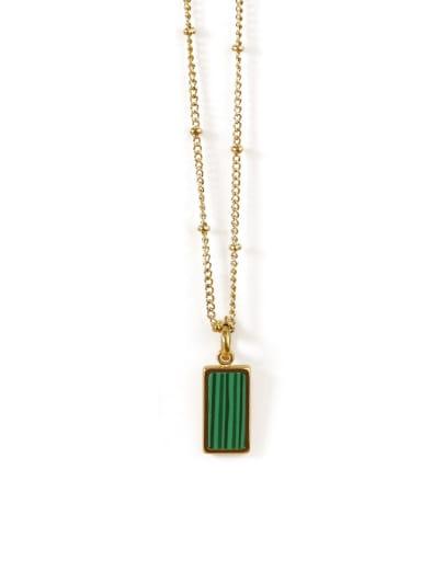 Malachite Necklace Brass Shell Geometric Vintage penfant Necklace