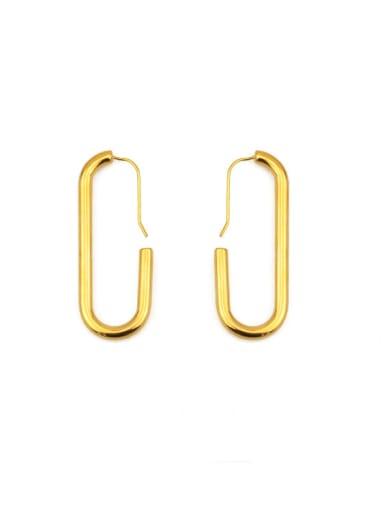 Brass Smooth Geometric Minimalist Hook Earring