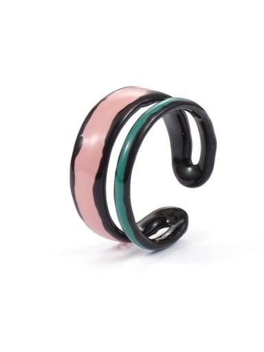 double-deck Zinc Alloy Enamel Bowknot Minimalist Band Ring