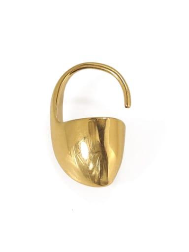 Brass Geometric Minimalist Hook Earring single
