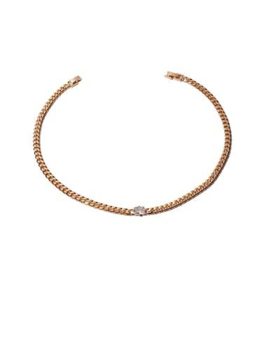 White zirconium Necklace Brass Cubic Zirconia Geometric Hip Hop Necklace