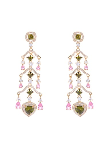 Brass Cubic Zirconia Multi Color Heart Statement Drop Earring