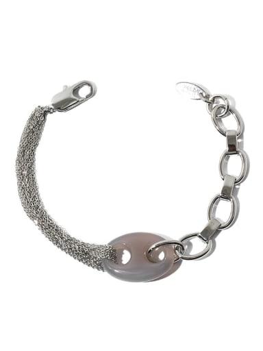 Brass Hip Hop Pig nose Natural stone multi-layer chain splicing   Link Bracelet