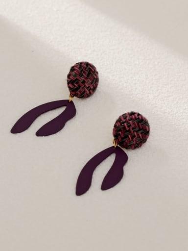 violet Brass Geometric Vintage Drop Earring