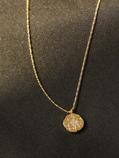 Brass Rhinestone Coin Minimalist Necklace