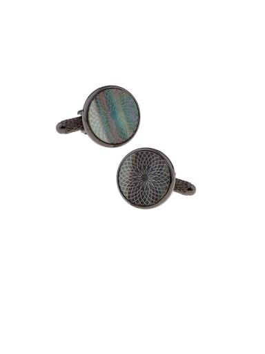 Round Brass Shell Geometric Vintage Cuff Link