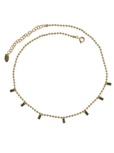 golden Brass Cubic Zirconia Geometric Dainty Necklace