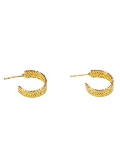 golden Brass Smooth Geometric Ethnic Stud Earring