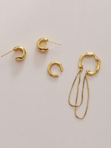 Brass Geometric Vintage Clip Earring