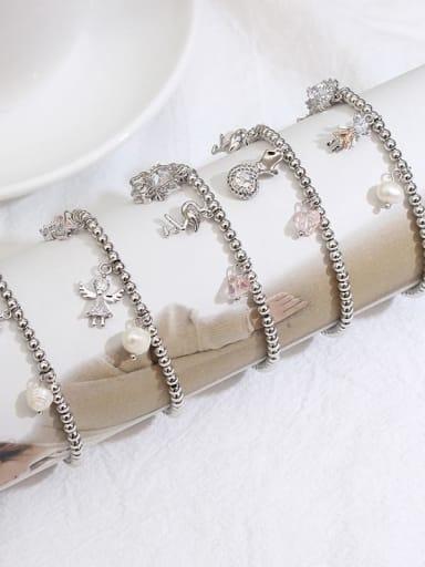 Alloy Cubic Zirconia Geometric Vintage Beaded Bracelet
