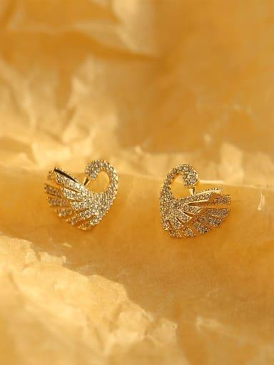Brass Cubic Zirconia Swan Classic Stud Earring