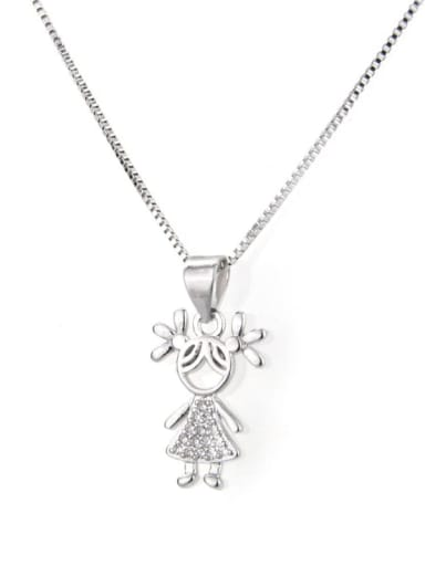Platinum plated girl Brass Cubic Zirconia Cute Necklace