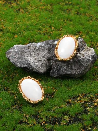 Brass Shell Geometric Vintage Stud Earring