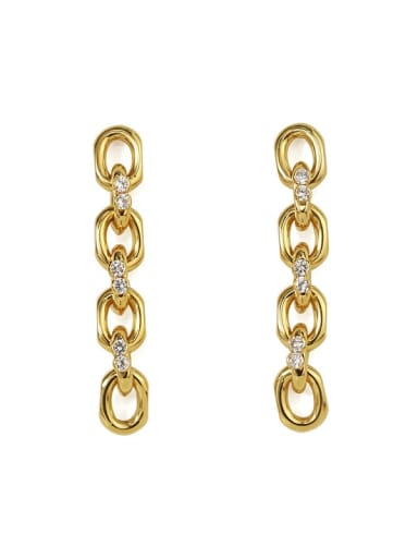 Gold Brass Cubic Zirconia Geometric  Chain Vintage Drop Earring