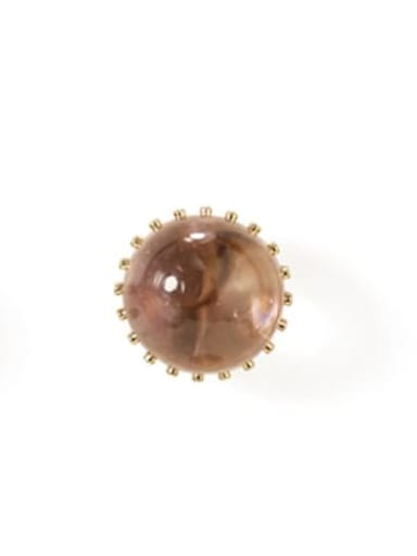 Nude Pink Large Alloy Bead Round Cute Stud Earring