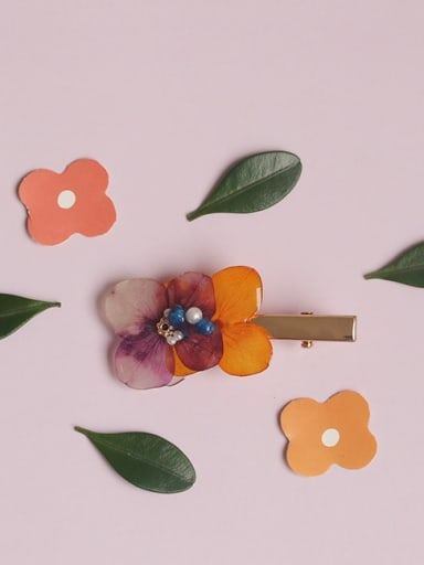 Alloy Resin Ethnic Flower  Hair Barrette