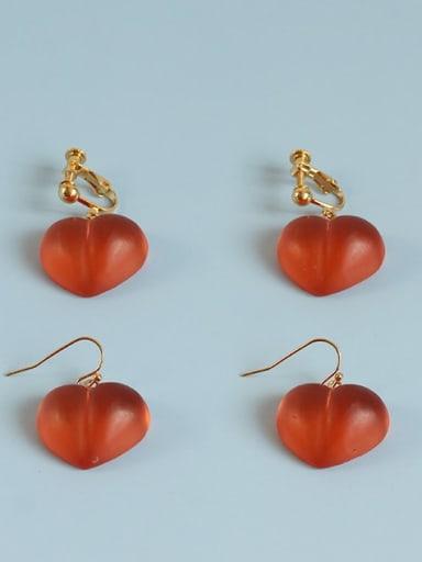 Peach Earrings Alloy Resin Heart Cute Hook Earring