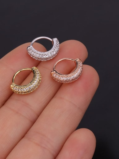 Copper With Cubic Zirconia White Round Dainty Single Earring (Single)