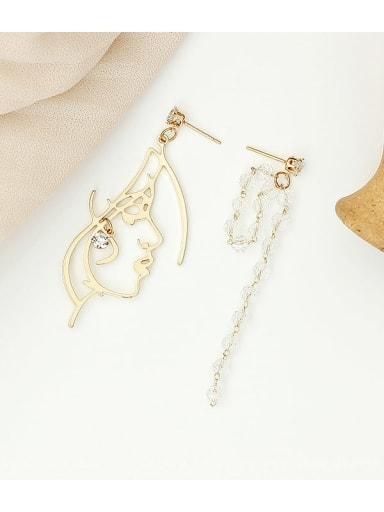 14K gold Copper Crystal Tassel Minimalist Drop Earring