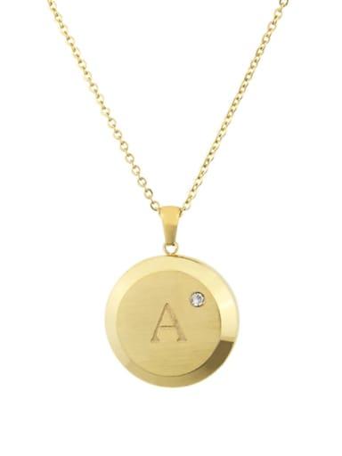Titanium Rhinestone 26 Letter Minimalist Initials Necklace