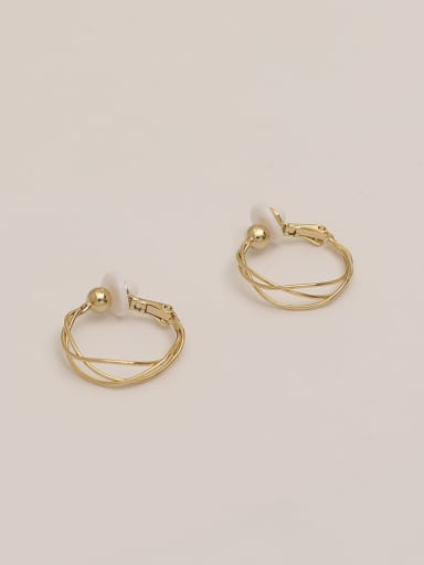 14k gold Brass Imitation Pearl Geometric Vintage Hoop Earring