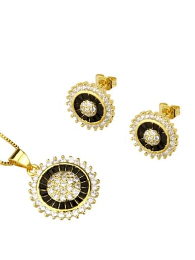 Gold Plated Black zirconium Brass Dainty Round Cubic Zirconia Earring and Necklace Set