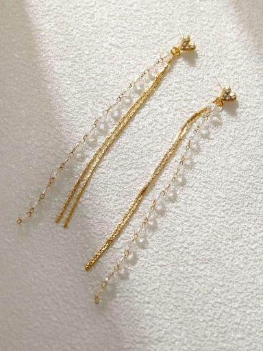 14k gold +white Brass Cubic Zirconia Tassel Vintage Threader Earring